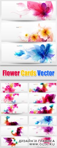 Color Flowers Banners Vector