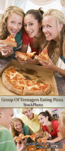 Stock Photo: Group Of Teenagers Eating Pizza