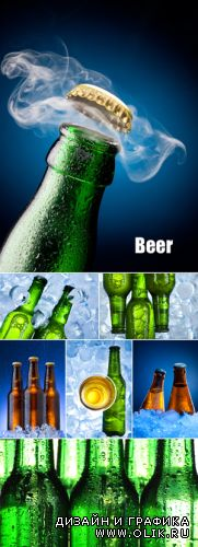 Stock Photo - Cold Beer Bottles