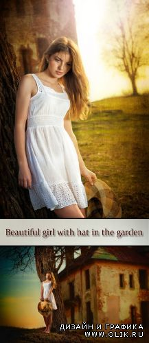 Stock Photo: Beautiful girl with hat in the garden near the castle
