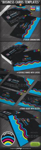 CMYK Colors Print Company Business Cards Design