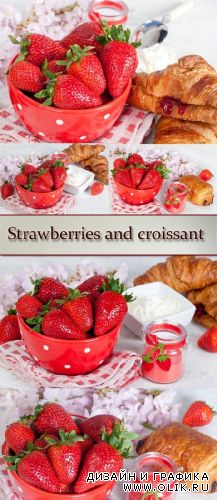 Stock Photo: Strawberries and croissant