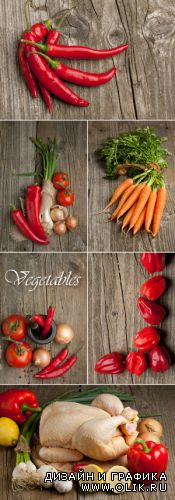 Stock Photo - Vegetables on Wooden Background 2