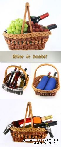 Stock Photo: Wine in basket
