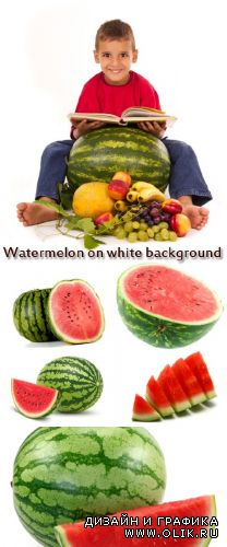 Stock Photo: Watermelon on white background