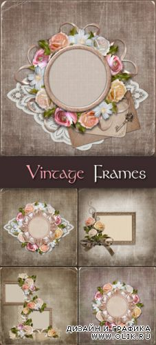 Stock Photo - Vintage Frames with Flowers
