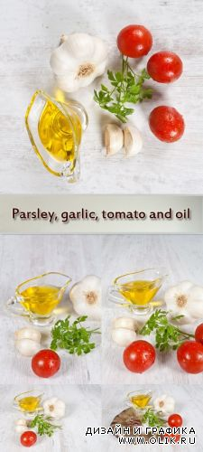 Stock Photo: Parsley, garlic, tomato and oil