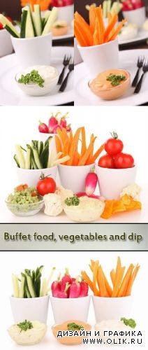 Stock Photo: Buffet food, vegetables and dip