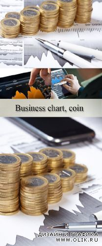 Stock Photo: Business chart, coin