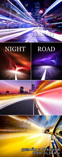 Stock Photo - Night Road & Lights