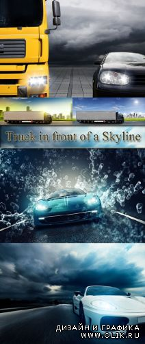 Stock Photo: Truck in front of a Skyline