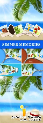 Summer Tropical Memories Cards Vector