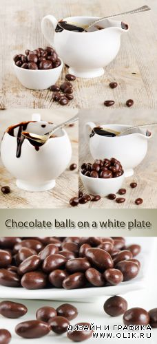 Stock Photo: Chocolate balls on a white plate