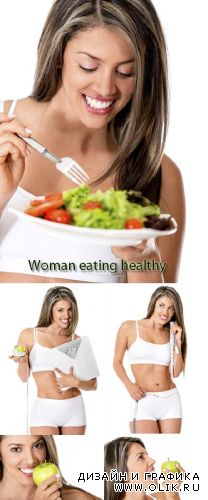 Stock Photo: Woman eating healthy food