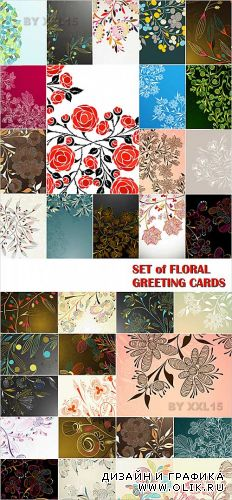Set of floral greeting cards 2