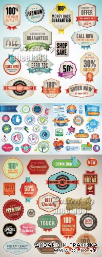 Various Stickers & Labels Vector