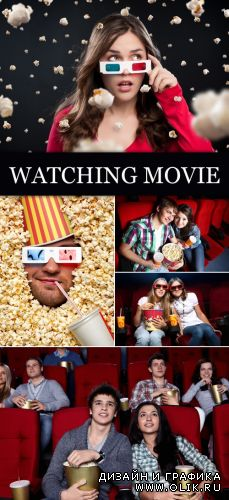 Stock Photo - People Watching Movie
