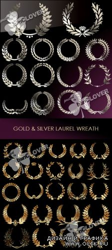 Gold and silver laurel wreath 0265