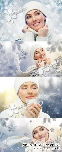 Beautiful girl and winter design 0292