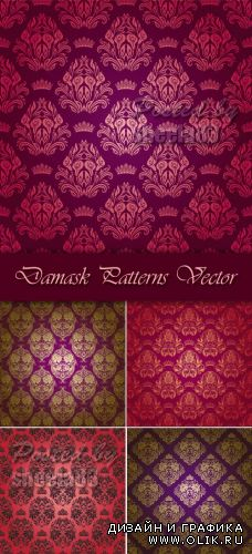 Red Damask Patterns Vector