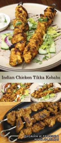 Stock Photo: Indian Chicken Tikka Kebabs