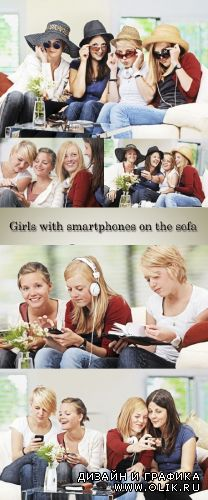 Stock Photo: 4 girls with smartphones on the sofa