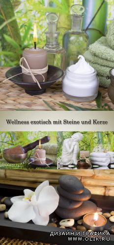 Stock Photo: Wellness. Bamboo and exotic flowers, stones and aromatic candles