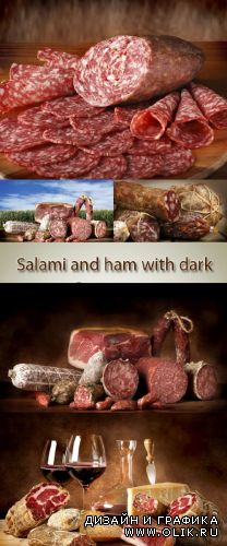 Stock Photo: Salami and ham with dark background