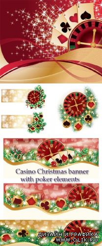 Stock: Casino Christmas banner with poker elements