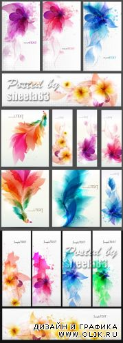 Abstact Flowers Banners Vector