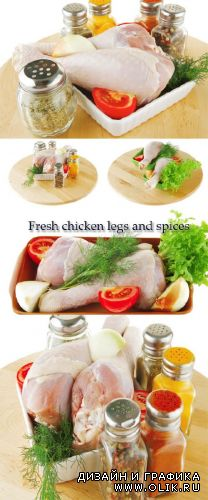 Stock Photo: Fresh chicken legs and spices
