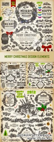 Merry Christmas design elements 0297