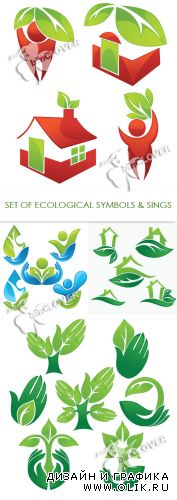Set of ecological symbols and signs 0299