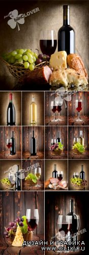 Wine collage on a wooden background 0306