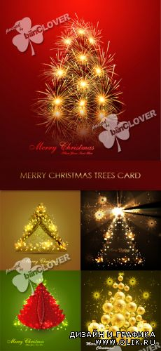 Merry Christmas trees card 0309