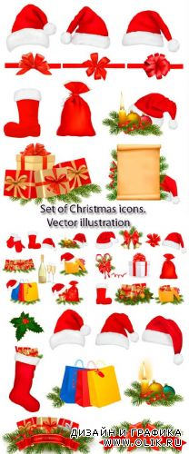 Stock: Set of Christmas icons. Vector illustration
