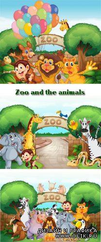 Stock: Zoo and the animals, drawn backgrounds