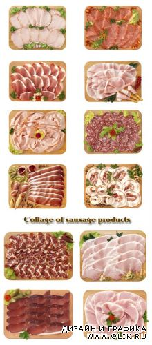 Stock Photo: Collage of sausage products