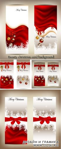 Stock: Beautiful Christmas cards and banners with bows and snowflakes