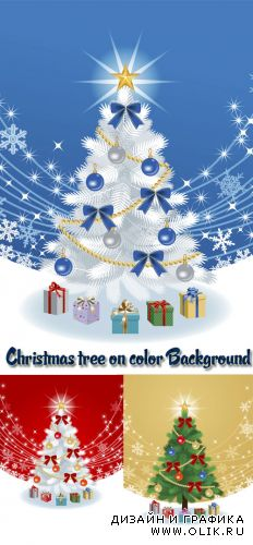 Stock: Christmas tree on color Background