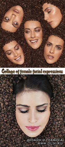 Stock Photo: Emotional expression of a woman face in coffee grains