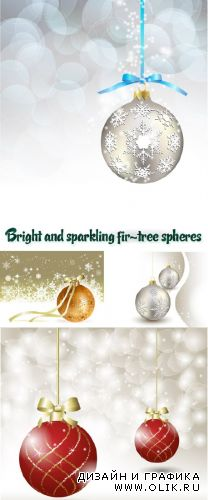 Stock: Bright and sparkling fir-tree spheres