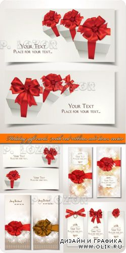 Праздничные карточки | Holiday gift cards with red ribbons and bows vector