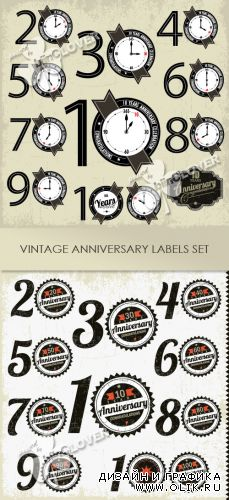 Vintage anniversary labels set 0318