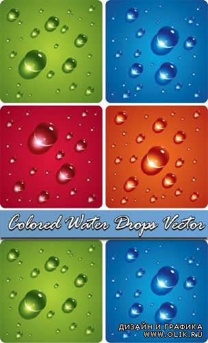 Colored Water Drops Vector