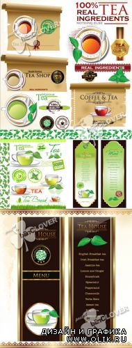 Tea design elements and banners 0347