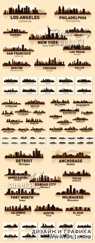 American Cities Skyline Vector