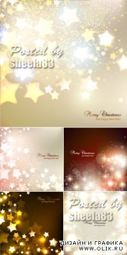 Sparkling Stars Christmas Backgrounds Vector