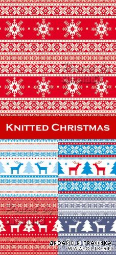 Knitted Christmas Patterns Vector