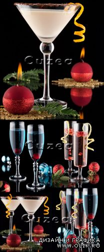 Glasses with New Year's attributes - Stock photo